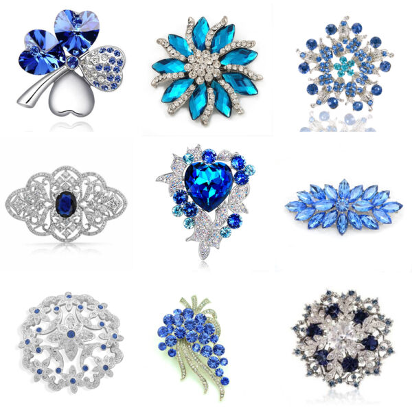 Luxury Vintage Style Bridal Wedding Prom Corsage Blue Flower Brooch Decoration