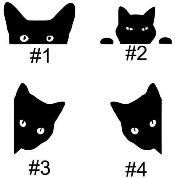 Black Cat Peek A Boo Cats Car Truck Auto Vinyl Decal Sticker Graphic Your Choice