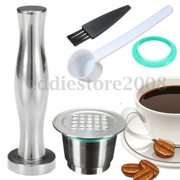 Upgrade Reusable Refillable Steel Coffee Capsule Pod + Tamper Set For Nespresso