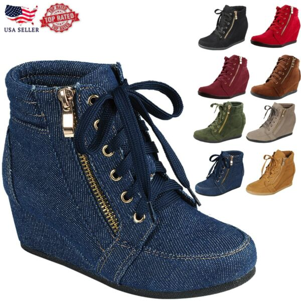 Women High Top Wedge Heel Sneakers Booties Platform Lace Up Ankle Boots Shoes