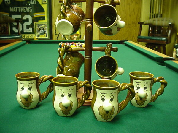 Kiln Fired Coffee Cup mugs Set of 8 cups + rack (one of a kind art)