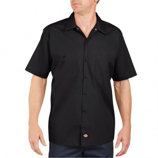 Dickies Mens Short Sleeve Work Shirt Classic BLACK NEW! Workwear S-5XL