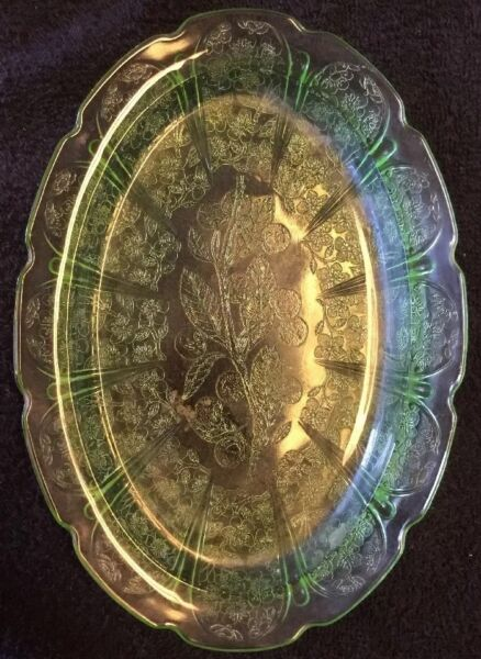 Antique Vintage Anchor Hocking Green Depression Glass Relish Candy Dish Tray