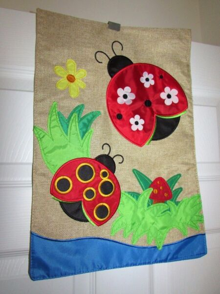 Appliqued Ladybugs and Mushroom Burlap Small Garden Flag 12quot; X 18quot; Embellished