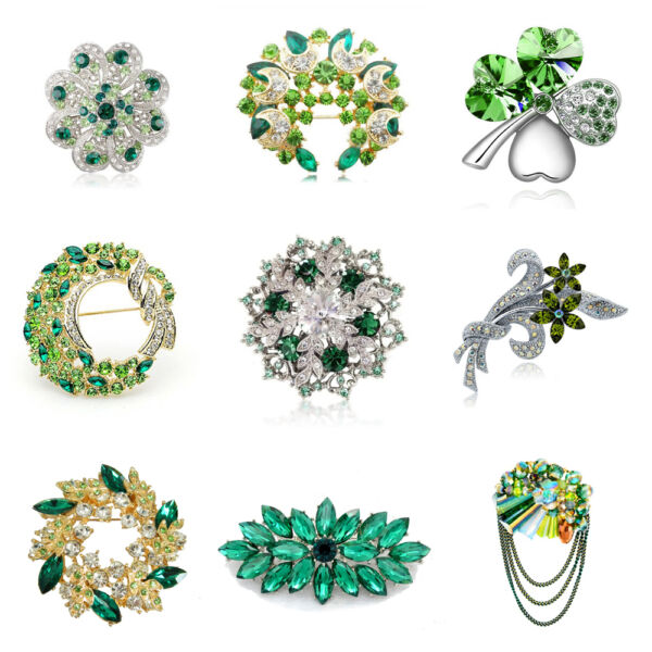 Luxury Vintage Style Bridal Wedding Prom Corsage Green Flower Brooch Decorations