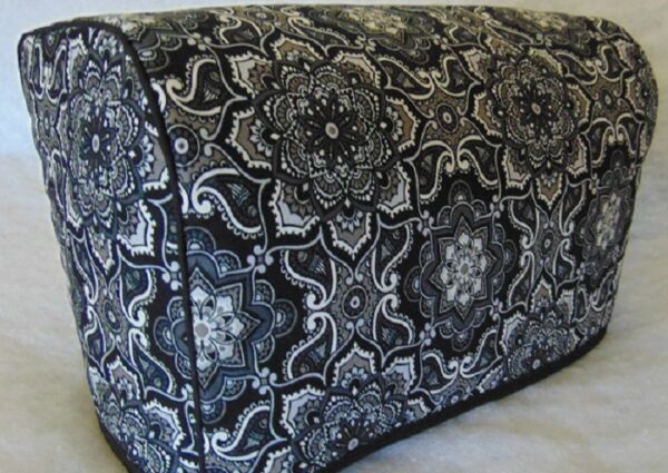 Elegant Black Paisley Design Quilted Fabric 2 Slice or 4 Slice Toaster Cover NEW