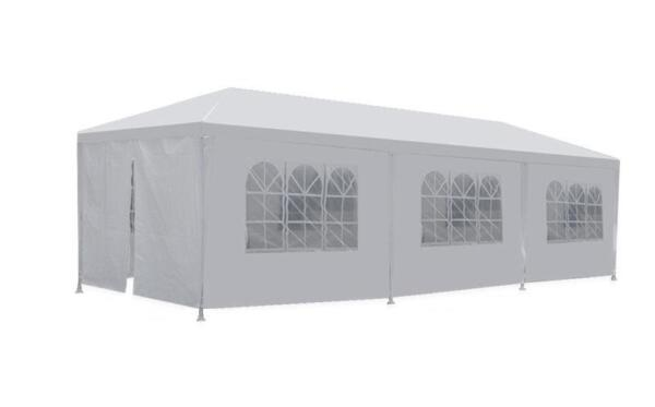 10#x27;x30#x27; White Outdoor Gazebo Canopy Wedding Party Tent 8 Removable Walls 8