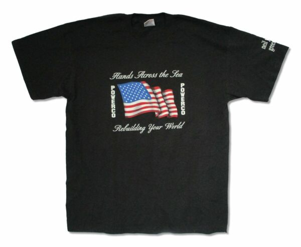 Neil Young Powerco Greendale US Flag Mens Black T Shirt New Official Adult