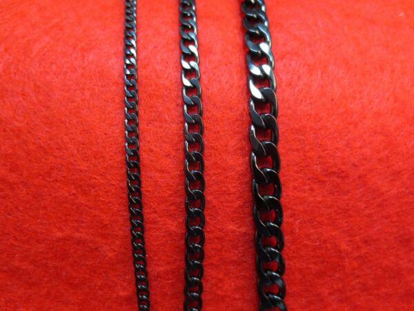 16quot; 50quot; 3 5 7MM STAINLESS STEEL BLACK CUBAN CURB LINK CHAIN NECKLACE BLACK