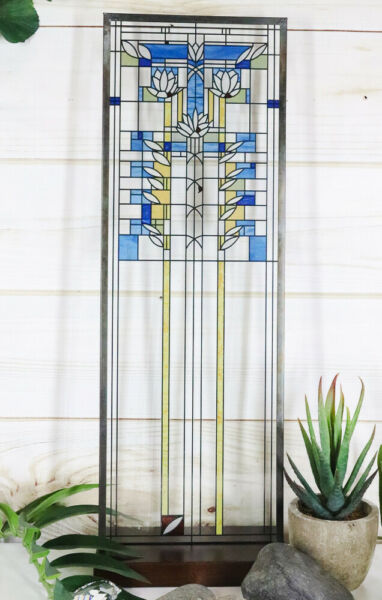 Frank Lloyd Wright Waterlilies Stained Glass Art Hanging Wall Decor Plaque Stand