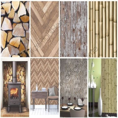 MODERN WOODEN WOOD WALLPAPER FEATURE WALL  WHOLE ROOM VARIOUS DESIGNS AVAILABLE