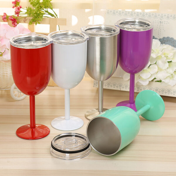 Stainless Steel Wine Glass Colored Double Wall Insulated Metal Goblet Wine Mug