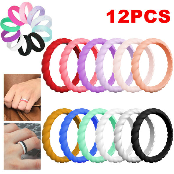 Men Women Silicone Wedding Band Engagement Ring Rubber Band Gym Sport Flexible