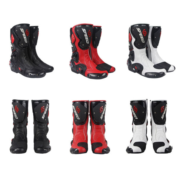 Motorcycle Boots Street Bike Racing Black Red White Size US 7 8 9 9.5 10.5 11 $99.95