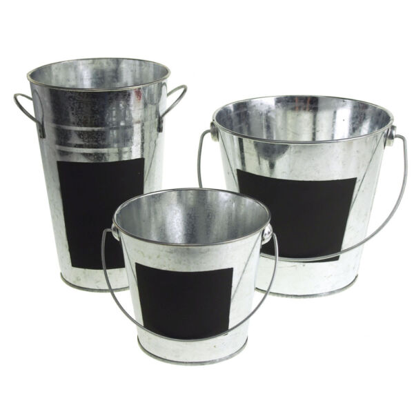 Galvanized Metal Pail Buckets with Chalkboard Label