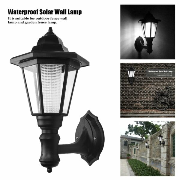 Solar Power Wall Mount LED Palace Light Outdoor Garden Path Way Fence Yard Lamp
