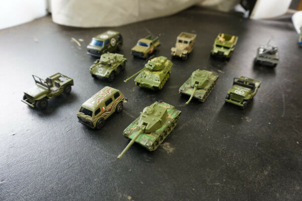 Lot of 12 Mini PlasticMetal Army Tanks Jeeps Troop Carriers and Medical Trans