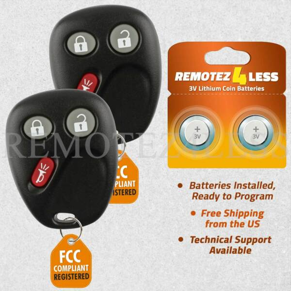 2 For 2002 2003 2004 2005 Chevrolet Trailblazer Keyless Entry Remote Car Key Fob