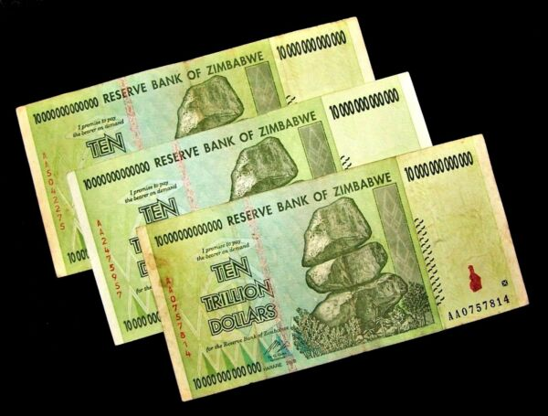 3 x Zimbabwe 10 trillion dollar banknotes/2008/AA -circulated authentic currency