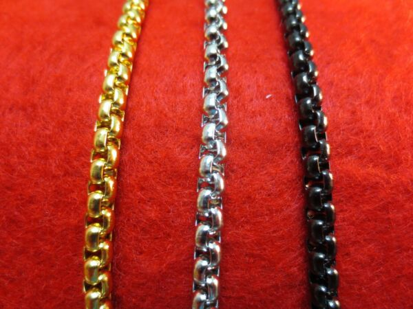 16quot; 60quot; 4MM STAINLESS STEEL GOLD SILVER BLACK SMOOTH BOX ROPE CHAIN NECKLACE