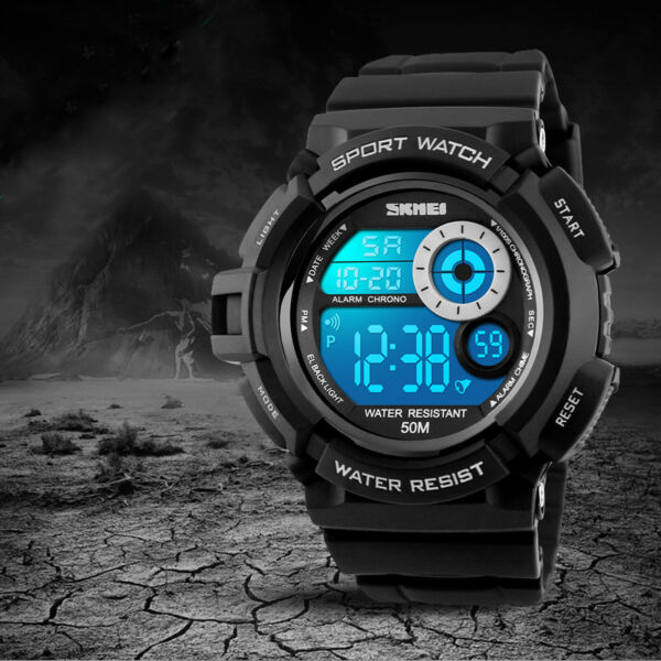 SKMEI Men's Watch G Style Sport Digital Display LED Shock Quartz Rubber Black
