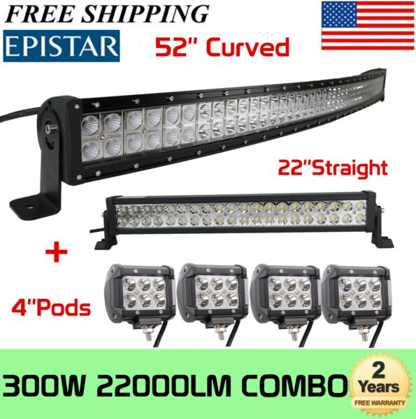 52quot;in 300W Curved LED Bar 22quot;in 120W Light Bar 4X 4quot; 18W LED Pods JK TJ YJ LJ
