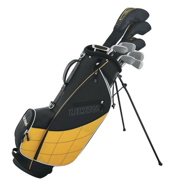 Wilson Ultra Men's Complete 9 Piece Right Handed Golf Club Set & Stand, Yellow