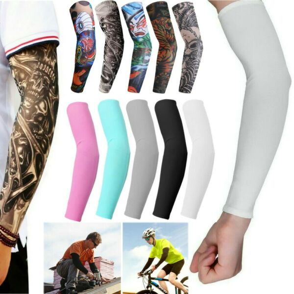 10Pcs Cooling  Tattoos Arm Sleeves Sun UV Protection Cover Sport Basketball
