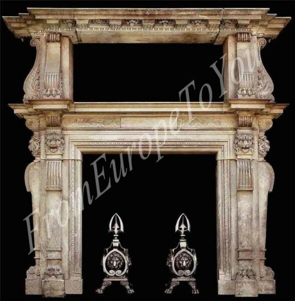 BEAUTIFUL HAND CARVED MARBLE FIREPLACE MANTEL HL27