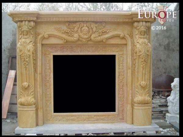 BEAUTIFUL HAND CARVED VICTORIAN STYLE SOLID MARBLE FIREPLACE MANTEL - LST28