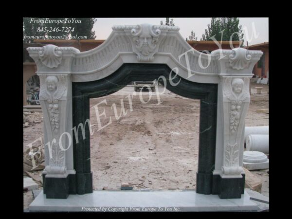 GREAT HAND CARVED MARBLE FIREPLACE MANTEL FPM88
