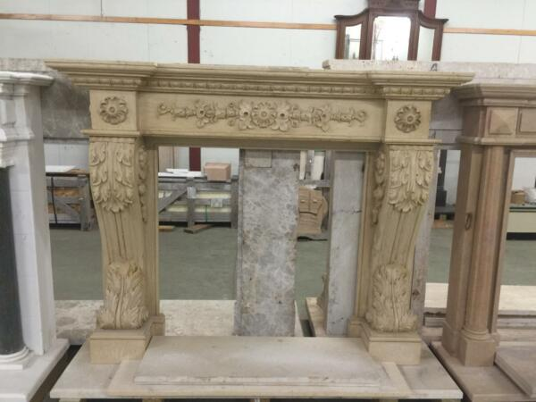 BEAUTIFUL HAND CARVED SOLID MARBLE FIREPLACE MANTEL  - JD803