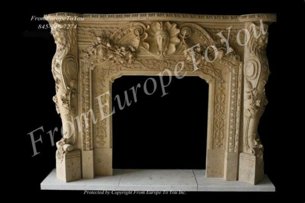 GREAT HAND CARVED MARBLE FIGURAL FIREPLACE MANTLE