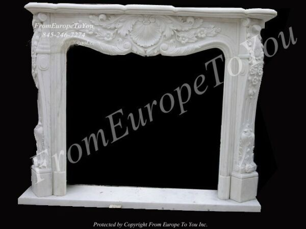 BEAUTIFUL HAND CARVED MARBLE FIREPLACE MANTEL NT5