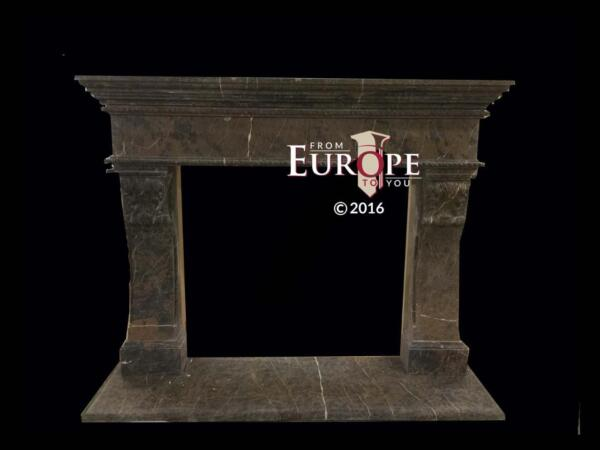 BEAUTIFUL HAND CARVED SOLID COFFEE MARBLE FIREPLACE MANTEL - JD1501