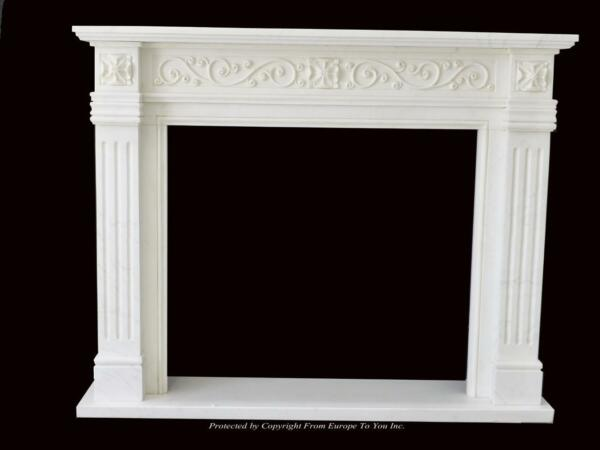 BEAUTIFUL HAND CARVED MARBLE EUROPEAN DESIGN MARBLE FIGURAL FIREPLACE MANTEL Z5