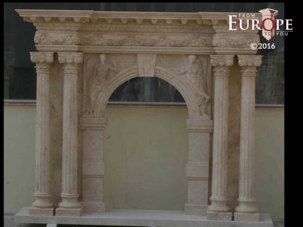 BEAUTIFUL HAND CARVED VICTORIAN STYLE SOLID MARBLE FIREPLACE MANTEL - LST32