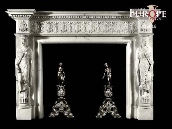 BEAUTIFUL HAND CARVED VICTORIAN STYLE SOLID MARBLE FIREPLACE MANTEL - LST44