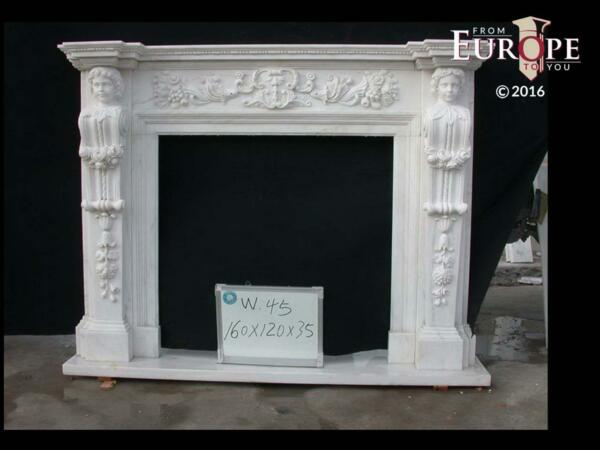 BEAUTIFUL HAND CARVED VICTORIAN STYLE SOLID MARBLE FIREPLACE MANTEL - LST20