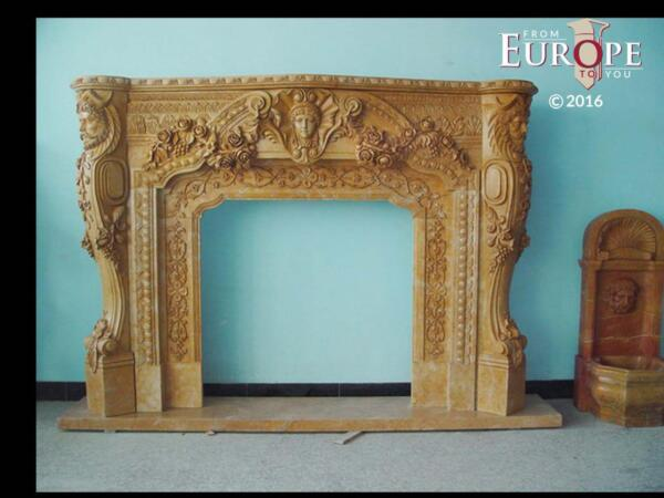 BEAUTIFUL HAND CARVED VICTORIAN STYLE SOLID MARBLE FIREPLACE MANTEL - LST56