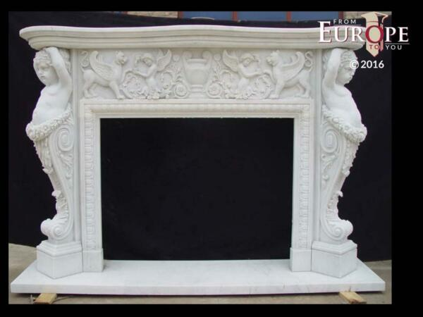 BEAUTIFUL HAND CARVED VICTORIAN STYLE SOLID MARBLE FIREPLACE MANTEL - LST5
