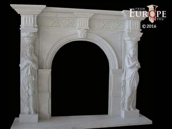 BEAUTIFUL HAND CARVED VICTORIAN STYLE SOLID MARBLE FIREPLACE MANTEL - LST17