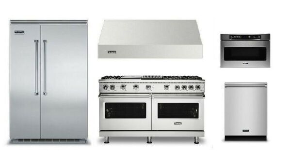 Viking Pro 5 Package with 60in Gas Range and 48in Built In Refrigerator