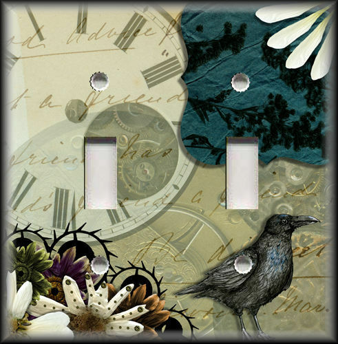 Metal Light Switch Plate Cover - Steampunk Gothic Home Decor Raven Bird Tan