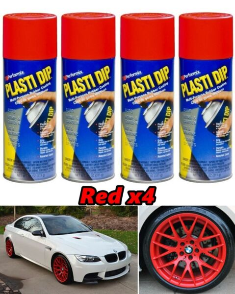 Performix Plasti Dip Red 4 Pack Rubber Coating Spray 11oz Aerosol Cans Wheels