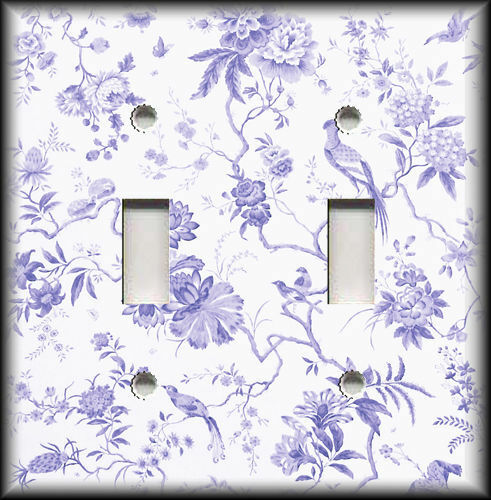 Metal Light Switch Plate Cover - Branches Floral Birds Toile Home Decor Purple