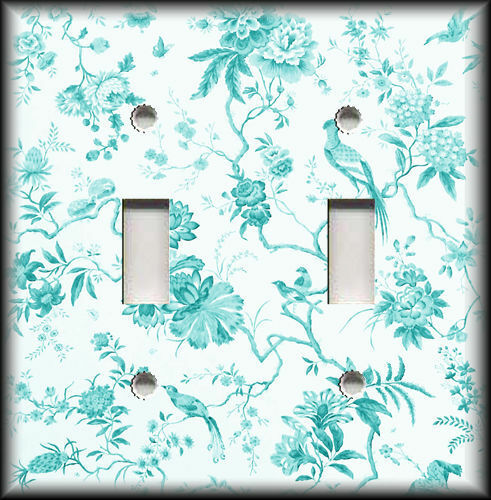 Metal Light Switch Plate Cover - Branches Floral Birds Toile Home Decor Teal
