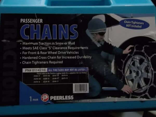 TIRE CABLE SNOW CHAINS PAIR OF PASSENGER PEERLESS 0114210 VEHICLE