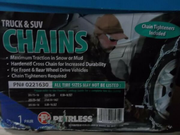 TIRE CABLE SNOW CHAINS PAIR OF TRUCK & SUV PEERLESS 0221630 TIGHTNER INCLUDED
