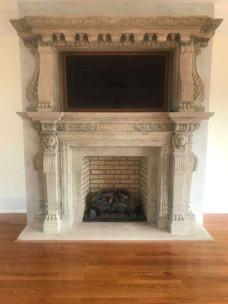 INCREDIBLE HAND CARVED LIMESTONE FIREPLACE ESTATE MANTEL CB6